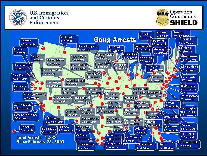 MS Gang La Mara Salvatrucha Vol - Us gang map